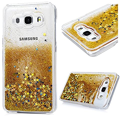 Mavis's Diary Samsung Galaxy J5 Case (2016 Model) - Flowing Liquid Glitter Sparkly Stars Hard Plastic Cover Transparent Protective Bumper Case for Samsung Galaxy J5 (Not for 2015 Model) - Gold