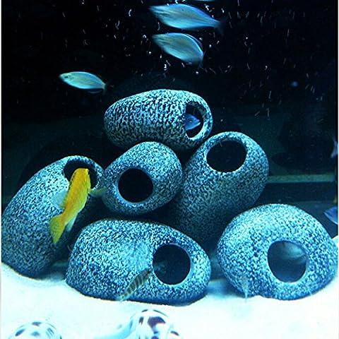 [Kostenloser Versand] Aquarium ZWERGBUNTBARSCH Stones Keramik Rock Cave Ornament ZWERGBUNTBARSCH