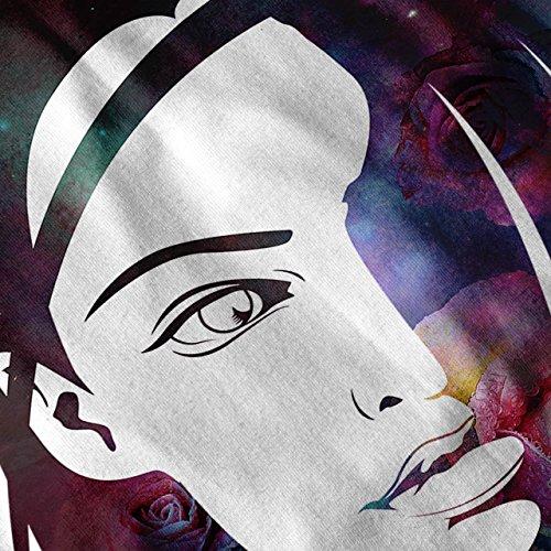 Platz Rose Gesicht Fantasie Galaxis Magie Damen Schwarz S-2XL Muskelshirt | Wellcoda Weiß