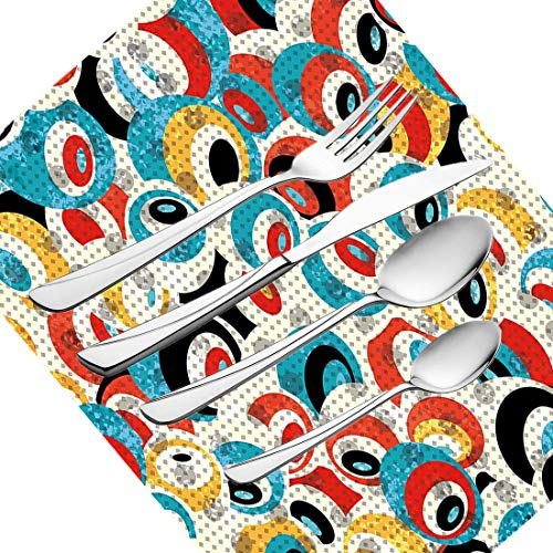 30-teiliges Besteckset, psychedelisches Retro-Thema, Kreismuster, Evil Eyes-Design, Techno-Trance-Techniken, moderner Kunstdruck, Besteck aus Edelstahl, Besteckset für 6 Personen, einschließlich Kn