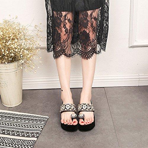6 cm Sandales à la mode de Chaussures d'été Chaussures de plage Sandales de vacances de 8 à 40 ans ( Couleur : Noir , taille : EU36/UK4/CN36 ) Noir