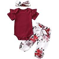 Geagodelia Ensemble de Vêtement Tenue Haut Nouveau-né Bébé Fille Barboteuse T-Shirt à Manche Longue + Pantalon imprimé…