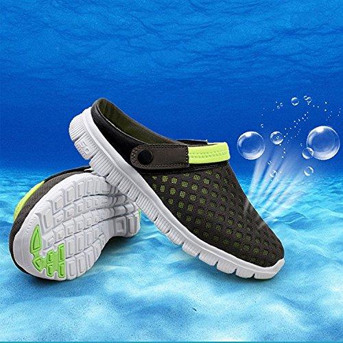 Cystyle Sommer Atmungsaktiv Hausschuhe Hollow Clogs Anti Rutsch Flach Sandalen Slippers Loch Mesh Strand Schuhe Herren Damen Grün