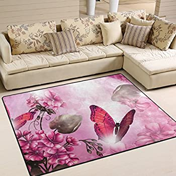 JSTEL INGBAGS Butterfly Living Room Dining Area Rugs 6 x 4 Feet Bed ...