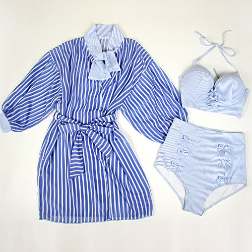 GAOLIM Swimsuit Female Striped Cover Up Small Chest Steel Tray Come Together Skort Style Bikini 3 Piece Spa Swimsuit
