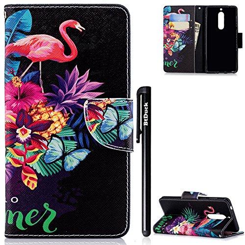 Nokia 5 Hülle,BtDuck Slim Leder Hülle Magnet PU Leder Flip Case Niedliches Muster Schutzhülle für Nokia 5 Brieftasche Mädchen Silikon Slim Cover Kartenfächer Mädchen Damen Geldbörse Cover Flamingos