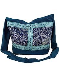 Guru-Shop Sadhu Bag, Schulterbeutel, Hippie Tasche - Türkis, Herren/Damen, Synthetisch, 30x35x10 cm, Bunter Stoffbeutel