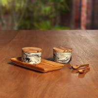 Ellementry, Carbon, Ceramic and Teak Wood Condiment Set, Includes 2 Ceramic Jars with Teak Lids and Teak Tray, 0.12 kg Capacity Per Jar and Tray Measures 6.75 in x 3.75 in x 2.5 in, Blue Marbled