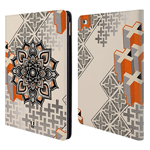 Head Case Designs Mandala E Croce Arte Puntiforme 2 Cover telefono a portafoglio in pelle per Apple iPad Air 2 - Croce Cucita Arte