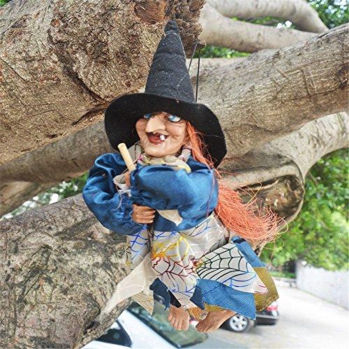 Minkoll Voicey Hexe, Halloween Party Hexe Dekorationen Requisiten Augen helle/lachende Sound Control, Rondom Farbe, 1 Stück