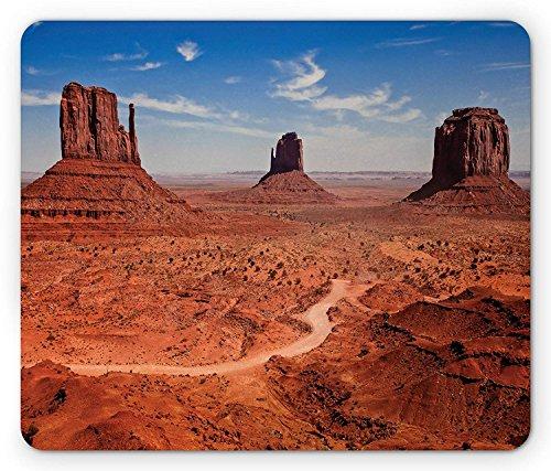 (Western Maus Pad, American Wüste Arizona Canyon Monuments Valley National Park Wild West Thema, Standard Größe Rechteck rutschfeste Gummi Mauspad, Zimt blau)
