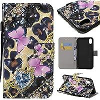 BONROY iPhone 9 Hülle, [Ständer Funktion] iPhone 9 Schutzhülle, Premium PU Leder Flip Tasche Case mit Integrierten Kartensteckplätzen und Ständer für iPhone 9-(KT-Pulver Schmetterling)