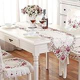 TABLE RUNNER LXF Mesa de encaje Runner Rose Pastoral Bordado Mesa de comedor moderno minimalista Hermoso y elegante (Tamaño : 40*193cm)