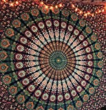 Indisch Wandteppich Mandala Blau Orange,Elefant Boho Wandtuch Hippie,Mehrfarbige Wandbehang Decke Tuch,groß indien baumwolle Bohemian Wand tucher,Weihnachten Geschenk 210x220cms