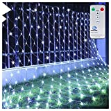 Ollny Led Net Mesh Fairy String Decorative Lights 200 LEDs 3m*2m with Remote - Christmas Tree-wrap Wedding Garden Home Indoor Outdoor Decorations Cool White Lights