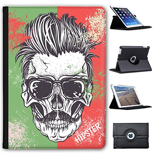 Fancy A Snuggle Totenkopf mit Sonnenbrille und Schnurrbart Hipster Case Cover/Folio aus Kunstleder für Das Apple iPad AIR 2 (2nd Generation)