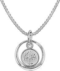 trendor Silber Kinder-Halskette Taufring mit Lebensbaum 08308