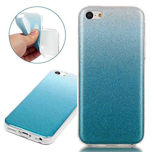 Coque pour iPhone 5C, Etui pour iPhone 5C, ISAKEN Peinture Style Transparente Ultra Mince Souple TPU Silicone Etui Housse de Protection Coque Étui Case Cover pour Apple iPhone 5C (Papillons Fleurs) bleu clair