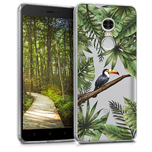 kwmobile Funda para Xiaomi Redmi 5 Plus/Redmi Note 5 (China) - Carcasa de TPU para móvil y diseño de tucán en Verde/Negro/Transparente