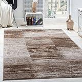 Paco Home Designer Teppich Modern Wohnzimmer Teppiche Kurzflor Karo Meliert Braun Beige, Grösse:200x280 cm