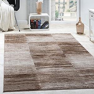 alfombras: Paco Home Alfombra De Salón Moderna De Diseño De Velour Corto A Cuadros Marrón Y...