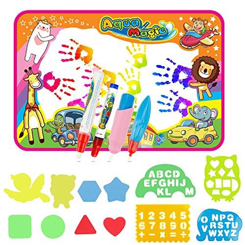 EXTSUD Wasser Doodle Matte Magic Matte 86x57cm Kids Baby Toddler Wasser Zeichnen Matte Toy mit 4 Stiftes Drawing Painting Mat mit 6 Colors Spielzeug für Kinder Mädchen Jungen Educational Gift