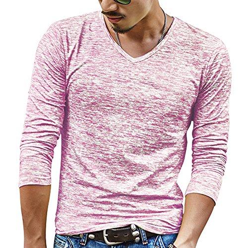 Maglietta a Maniche Lunghe Collo-V Colore Screziato Slim Fit Maglia Rose