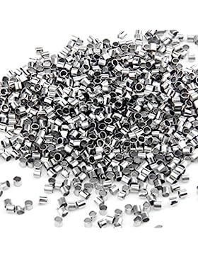 Skyllc® 1000 Stücke Location Perlen Röhre versilbert Quetschröhrchen Quetschperlen