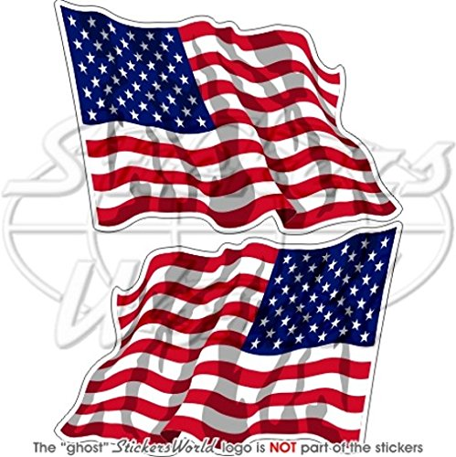 Agiter United States Amérique USA drapeau américain 7,6 cm (75 mm) en vinyle Bumper Stickers, Stickers x2