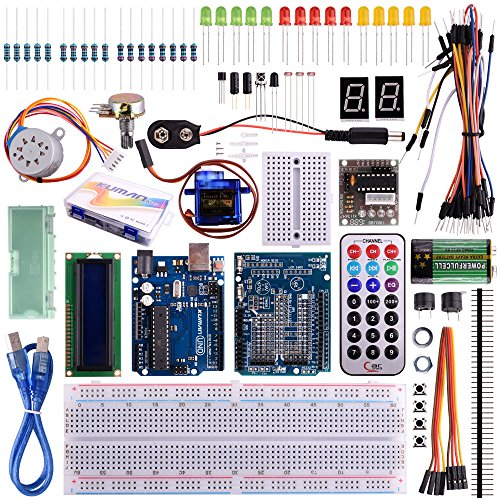 Kuman K11 Starter Learning Kit Kits Board Super Projectors with UNO R3 LCD Servo Motor Sensor for Arduino AVR Starter Beginners (34 components)
