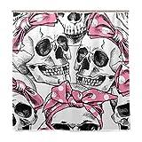 BALII Skull in Einer Rosa Haarband Duschvorhang 182,9x 182,9cm Polyester Wasserdicht mit 12Haken für Badezimmer