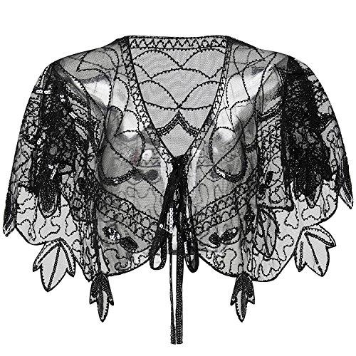 ArtiDeco Damen Umschlagtücher für Abendkleid 1920s Retro Schal Hochzeit Party Braut Schal Gatsby Kostüm Accessoires (Gold)