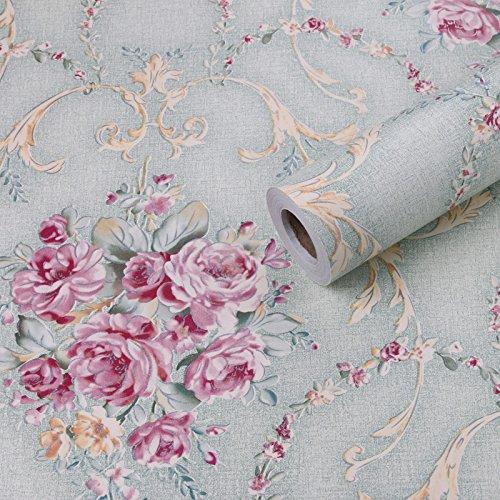 BABYQUEEN Pvc Wasserdicht Selbstklebende Tapete Landhausstil Schlafzimmer Wohnzimmer Möbel Renoviert Aufkleber Blau Blumen (Kid Schlafzimmer-möbel)