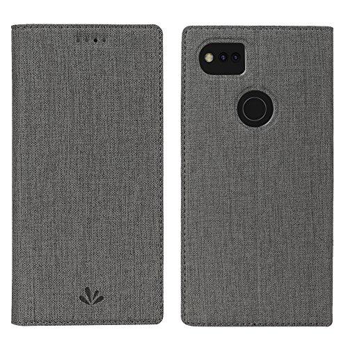 Google Pixel 2 Hülle, Slimicoo Pixel 2 Premium Leder Tasche Flip klappbares Handyhülle Case Standfunktion Kartenfach Magnetverschluß Card Holder kristallklarer TPU Stoßstange Extra Dünn Wallet Schutzhülle für Google Pixel 2 (Pixel 2 XL, Gray) (Elektronik Wallet)