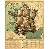 Reproduction d'une carte ancienne de la France à la date de la Révolution français, sous la forme d'un navire, départements Partisans de la révolution sont représentés Par le bateau tandis que ceux qui étaient contre sont matérialisés Par la Révolution Terre, environ Poster de 33 cm sur 41,5 cm