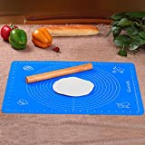 #5: Clytius 240g Thick Dark-Blue Large - Heavy Duty Silicone Premium quality Baking Mat for Pastry Rolling with Measurements(40×50cm),Chef Special,Non Stick,Non Slip,- Best Kitchen Gadget By