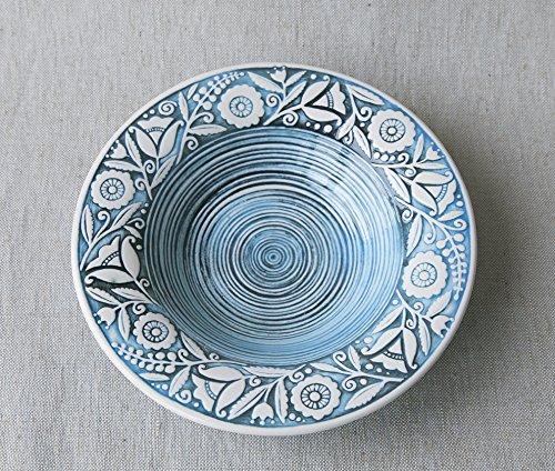 fatto-a-mano-in-ceramica-piatto-fondo-blu-argilla-eco-friendly-artigianale-cucina-stoviglie