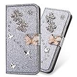 Ledertasche BookStyle Luxus Bling Glitzer Diamant Slim Leder Hülle Schutzhülle Scratch Bumper Flip Folio Wallet Stand Case Card Slots Pocket Shell Magnetverschluß für Samsung Galaxy S6