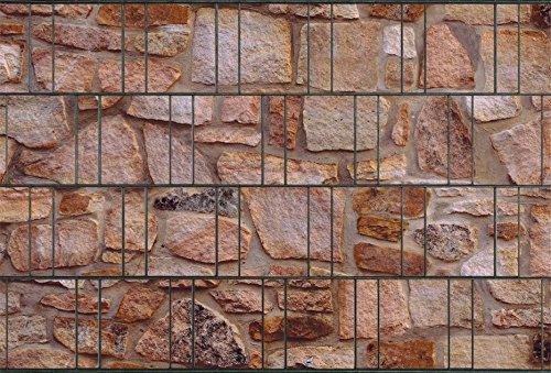 Zaunsichtschutz, Windschutz (30 versch. Motive) für Doppelstabmattenzaun *Sandstein neutral* beidseitig, 19cm, 26m Rolle