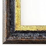 Bilderrahmen Trento Schwarz Gold 5,4 - WRF - 30 x 40 cm - wählen Sie aus über 500 Varianten - alle Größen - Modern, Shabby, Landhaus, Antik, Barock - Fotorahmen Urkundenrahmen Posterrahmen