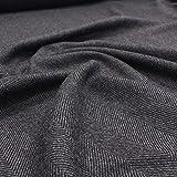 klassischer Mantelstoff mit Fischgrat in Grau Schwarz italienisches Wolltuch