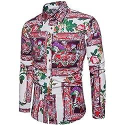 FAMILIZO Camisas Hombre Manga Larga Slim Fit Camisas Hombre Lino Camisas Hombre Originales Baratas Negocio Tops Blusa Hombre Blanca Otoño Moda Floral Business Casual Formal Slim Button-Down Ajustado