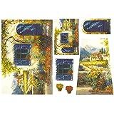 Carta di riso Paesaggio blu - Stamperia DFS074