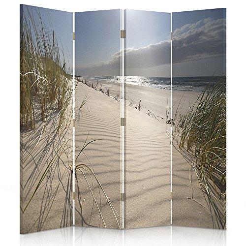 Raumteiler Frames (Feeby Frames. Raumteiler, Ggedruckten aufCanvas, Leinwand Wandschirme, dekorative Trennwand, Paravent beidseitig, 4 teilig (145x180 cm), Strand, Grass, Meer, Ufer, Sand, BLAU)