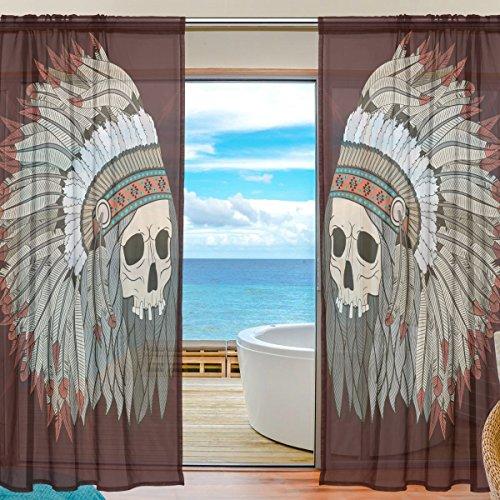 Indianer-muster-krawatte (yibaihe Fenster Vorhänge, Gardinen Platten Fenster Behandlung Set Voile Drapes Tüll Vorhänge Indianer Totenkopf Muster 213cm lang für Wohnzimmer Schlafzimmer Girl 's Room, 2Platten)