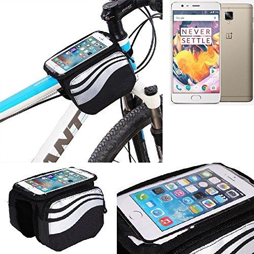 K-S-Trade Rahmentasche für OnePlus 3T Rahmenhalterung Fahrradhalterung Fahrrad Handyhalterung Fahrradtasche Handy Smartphone Halterung Bike Mount Wasserabweisend, Silber-schwarz