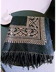 Mujeres moda Nepal estilo demasiado largas espesa MANTA bufanda abrigo chal Poncho cabo con borlas acogedor imitación Cachemira 150 * 130cm