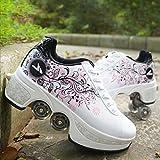 Beauty leader Scarpe con deformazione multifunzionale Quad Skate Pattini a rotelle Pattinaggio Calzature sportive da esterno per adulti, white, 36