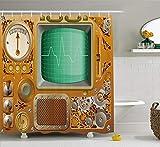 JIEKEIO Retro Shower Curtain, Industrial Victorian Style Grunge Steampunk TV Gauger Retro Clockwork, Fabric Bathroom Decor Set with Hooks,60 * 72inch, Orange Green Pale Grey