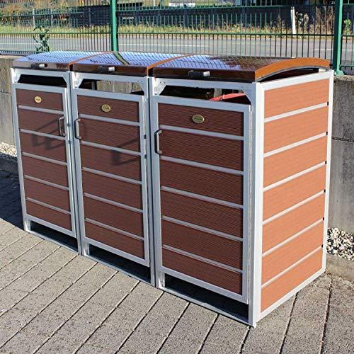 Prewood WPC Mülltonnenbox, Mülltonnenverkleidung für 3x 120l Mülltonne braun // 70x204x113 cm (LxBxH) // Gerätebox, Gartenbox & Mülltonneneinhausung